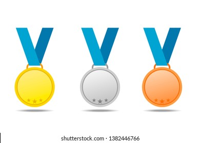 Gold, silver and bronze medals with blue ribbons. Vector medals isolates with shadow on white background
