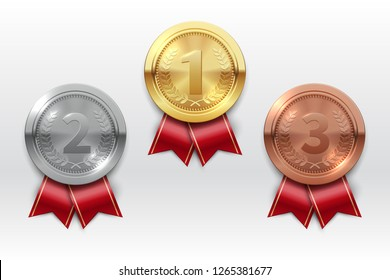 Gold silver bronze medals. Champion winner award metal medal. Honor badges realistic isolated vector set