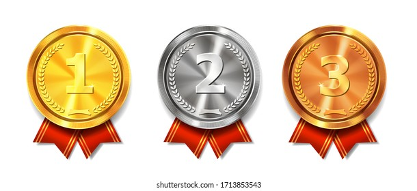 Gold, silver and bronze medals. Champion and winner awards medal set with red ribbon. First place trophy.