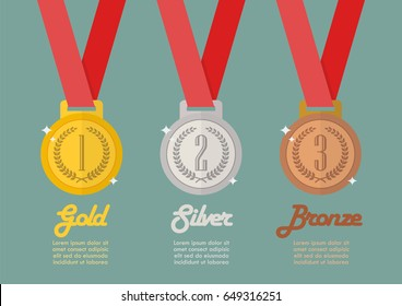 Gold silver and bronze medals infographic. Flat style vector illustration