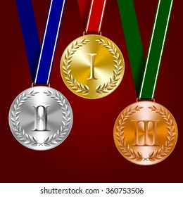 Gold, silver and bronze medals with laurel wreaths on dark red background. Vector illustration