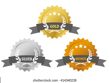 Gold, silver and bronze medals with laurel and grey banner