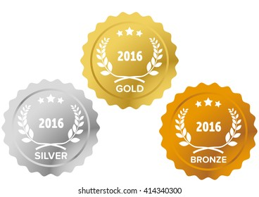 Gold, silver and bronze medals with laurel