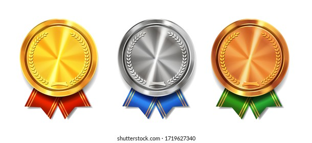 Gold, silver and bronze medals realistic set with ribbons. Winner awards symbols.