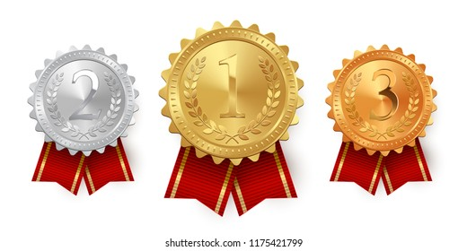 Gold, silver and bronze medals with red ribbons isolated on white background. Vector design element