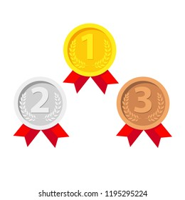 Gold, Silver, Bronze Medals Set. Winner Medals. Metal Realistic Badge With First, Second, Third Placement Achievement. Round Medal Red Ribbon. Game Golden, Silver, Bronze Trophy. Vector Illustration.