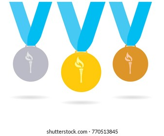 Gold, silver and bronze medals set with flame. Korea winter olympic medals. Vector