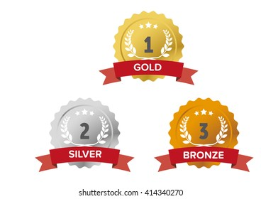 Gold, silver and bronze medals wiith red banner