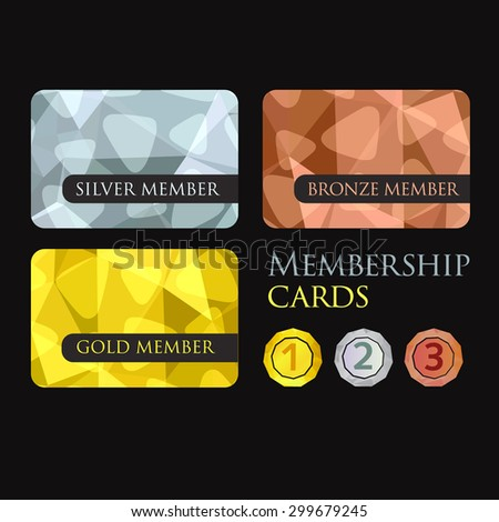 Gold Silver Bronze Membership Cards Backgrounds Stock Vector