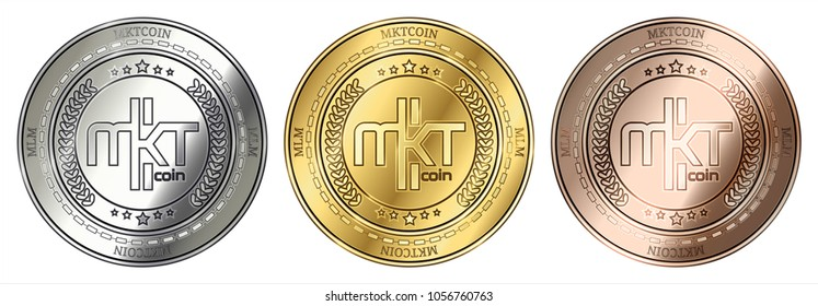 Gold, silver and bronze MktCoin (MLM) cryptocurrency coin. MktCoin (MLM) coin set.