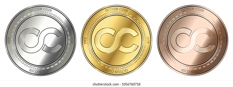 Gold, silver and bronze Octoin Coin (OCC) cryptocurrency coin. Octoin Coin (OCC) coin set.