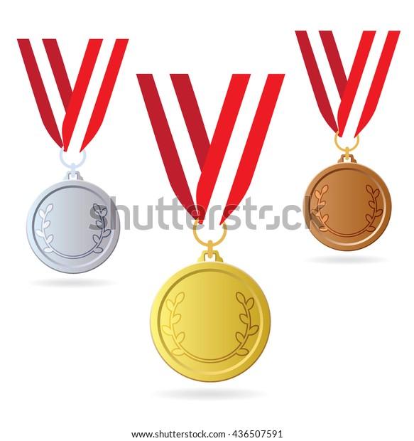 Gold Silver Bronze On Ribbon Three Stock Vector (Royalty Free) 436507591