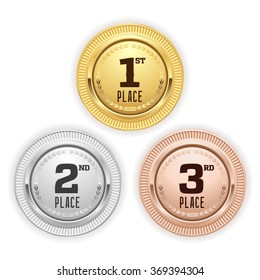 Gold, silver and bronze place medaille on white background