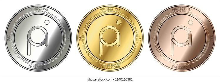 Gold, silver and bronze Project Pai (PAI) cryptocurrency coin. Project Pai (PAI) coin set.