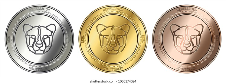 Gold, silver and bronze Rebellious (REBL) cryptocurrency coin. Rebellious (REBL) coin set.