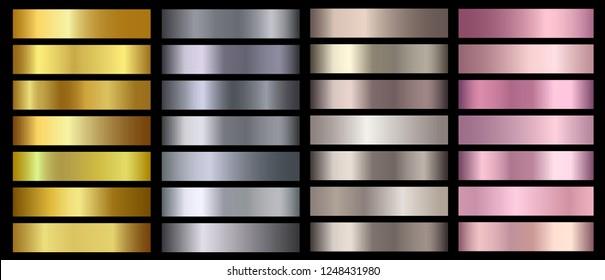 Gold, silver, bronze, rose gold metallic foil texture vector gradients set. Golden metallic pink, beige, chrome gradient colorful illustration gradation for backgrounds, banner, user interface, flyers
