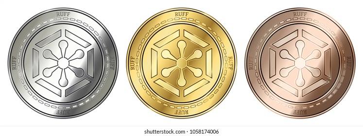 Gold, silver and bronze Ruff (RUFF) cryptocurrency coin. Ruff (RUFF) coin set.