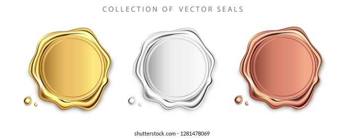Gold, silver, bronze stamp wax seal approval vector sealing retro label set. Quality garantee label. Elite.