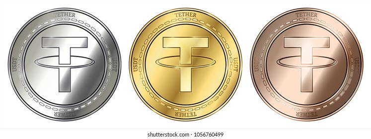 Gold, silver and bronze Tether (USDT) cryptocurrency coin. Tether (USDT) coin set.