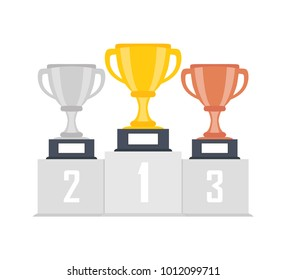 Gold, silver, bronze trophy cup, goblet on podium, pedestal isolated on background. 1st, 2nd, 3rd place. Handing awards to winner. Vector illustration.