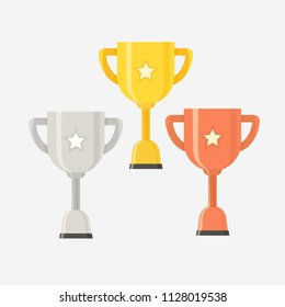Gold Silver Bronze trophy cup set vector