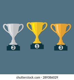 Gold, Silver and Bronze Trophy Cup on prize podium. First place award. Champions or winners Infographic elements. Vector illustration.