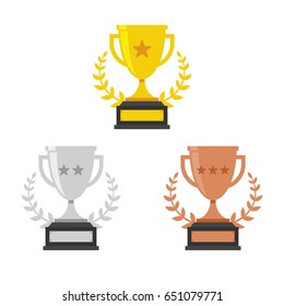 Gold, Silver and Bronze Trophy Cup. Vector Flat Trophy Icon with stars and laurel wreath