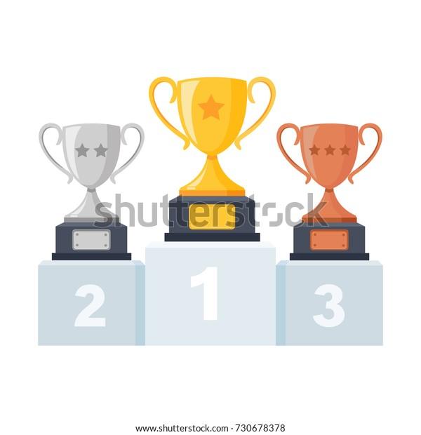 金 銀 銅のトロフィーカップ 表彰台にゴブレット 背景に台座 1位2位3位 受賞者に賞を授ける ベクターイラスト のベクター画像素材 ロイヤリティフリー