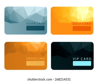 Gold, silver, bronze, VIP premium member cards in polygonal style, gift, voucher, certificate, vector illustration