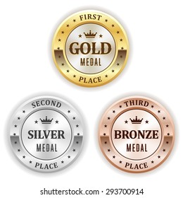 Gold, silver and bronze winner badge on white background