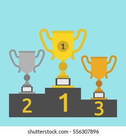 Gold, silver and bronze winner cups on podium isolated on blue. First place, award, victory, sports and achievement concept. Flat design. Vector illustration. EPS 8, no transparency