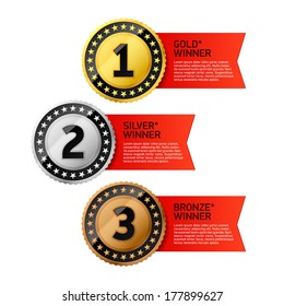 Gold, Silver and Bronze winners medals. Vector.