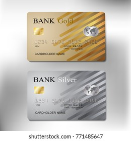 gold and silver color credit cards set realistic of business with vector illustration design eps10