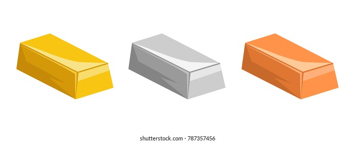 Gold, silver and copper bars isolated on white background, vector illustration.