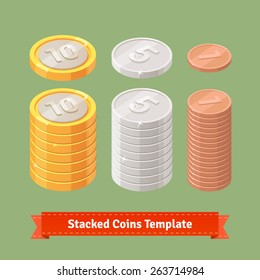 Gold, silver and copper stacked coins. You can easily assemble coin stacks with this template. Flat style icons.