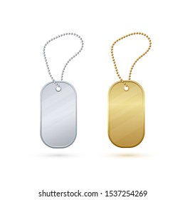 Gold and silver empty realistic metal tag.