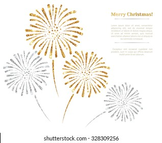 Gold and silver fireworks on white background. Vector illustration. Glowing New Year or Christmas Backdrop