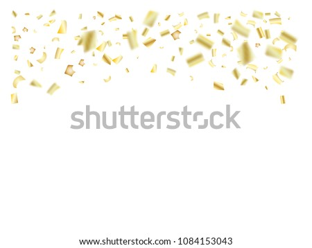 gold silver foil confetti falling down sparkling christmas birthday party and new year