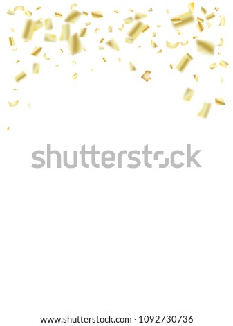 gold silver foil confetti falling down elegant christmas birthday party and new year
