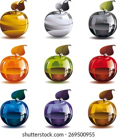 Gold, silver and glass apples. Gold and silver apples. And also I made glass bottles of different colors of apples. They are filled with juice.  Or maybe you will be their version?
