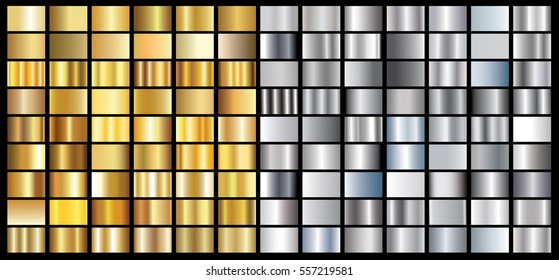 Gold silver gradient background vector icon texture metallic illustration for frame, ribbon, banner, coin and label. Realistic abstract golden design seamless pattern. Elegant light and shine template