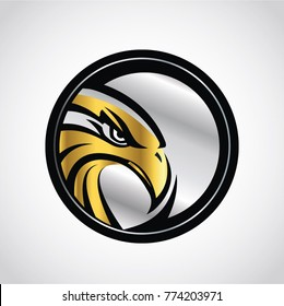 Gold Silver Hawk Emblem Logo Sign Symbol Icon