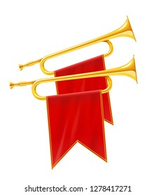 Gold and silver horn trumpet Musical instrument. Golden Royal fanfare for play music. Isolated white background. EPS10 vector illustration.