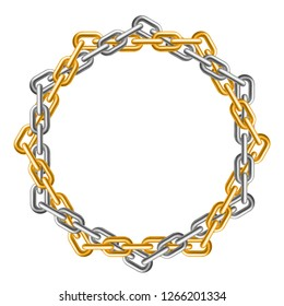 Gold and silver interlocked chains. Circle frame. Realistic style. Isolated element on white background. Vector illustration.