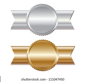 Gold and silver labels with ribbon. Vector