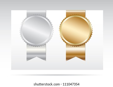 Gold and silver labels with ribbon.Vector