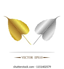 Gold and silver leaves of Bodhi tree , Ficus religiosa or Sacred fig ,Symbols of Buddhism Vector Illustration.
