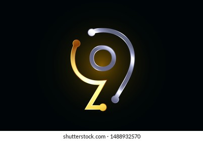 gold and silver metal number 9 logo icon design suitable as a logotype for a company or business