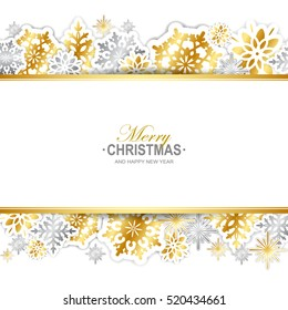 Gold and silver paper snowflakes Christmas banner. Vector illustration.