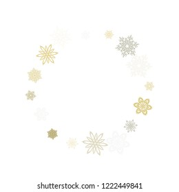 Gold silver paper snowflakes flying vector winter background. Geometric stylized falling and flying airy paper snow flakes. Winter seasonal snowflakes conceptual Christmas elements.